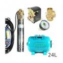 Zestaw pompa 4SKM100 230V IBO zbiornik 24l poziomy