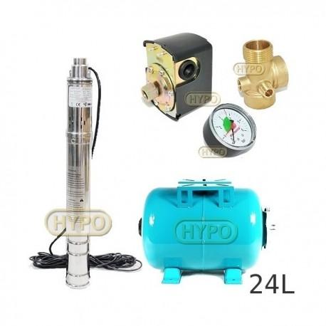 Zestaw pompa 3SQIBO 0,75 IBO 230V zbiornik 24L poziomy
