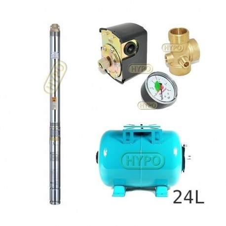 Zestaw pompa 3T23 230V OMNIGENA zbiornik 24L poziomy 3T-23