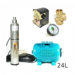 Zestaw pompa 3,5SCR1,8-50-0,5 230V IBO zbiornik 24L poziomy