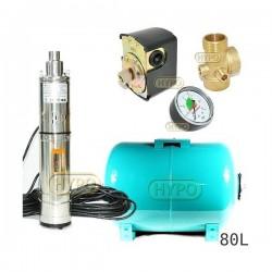 Zestaw pompa 3,5SCR1,8-50-0,5 230V IBO zbiornik 80L poziomy