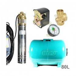 Zestaw pompa 4SKM150 230V IBO zbiornik 80l poziomy