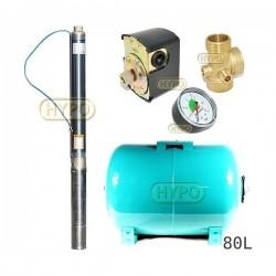 Zestaw pompa 3ti20 230 IBO zbiornik 80L poziomy