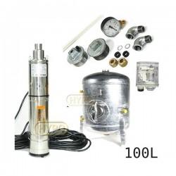Zestaw pompa 3,5SCR1,8-50-0,5 230V IBO zbiornik ocynkowany HYDRO-VACUUM 100L pionowy