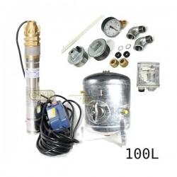 Zestaw pompa 3SKM100 IBO 230V zbiornik ocynkowany HYDRO-VACUUM 100L pionowy