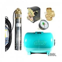 Zestaw pompa 4SKM100 IBO 230V zbiornik 100L poziomy