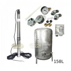Zestaw pompa 3,5SCM2/14 230V IBO zbiornik ocynkowany HYDRO-VACUUM 150L pionowy