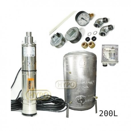 Zestaw pompa 3,5SCR1,8-50-0,5 230V IBO zbiornik ocynkowany HYDRO-VACUUM 200L pionowy