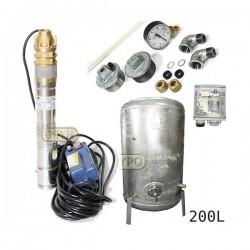 Zestaw pompa 3SKM100 IBO 230V zbiornik ocynkowany HYDRO-VACUUM 200L pionowy