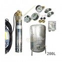 Zestaw pompa 4SKM100 230V IBO zbiornik ocynkowany HYDRO-VACUUM 200L pionowy