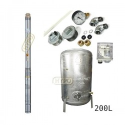 Zestaw pompa 3T32 400V OMNIGENA zbiornik ocynkowany HYDRO-VACUUM 200L pionowy 3T-32
