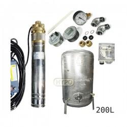 Zestaw pompa 4SKM150 230V IBO zbiornik ocynkowany HYDRO-VACUUM 200L pionowy
