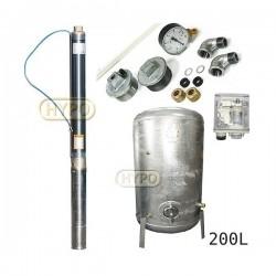 Zestaw pompa 3ti20 230V IBO zbiornik ocynkowany HYDRO-VACUUM 200L pionowy