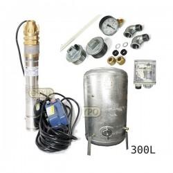 Zestaw pompa 3SKM100 IBO 230V zbiornik ocynkowany HYDRO-VACUUM 300L pionowy
