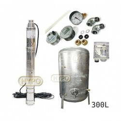 Zestaw pompa 3SQIBO 0,75 IBO 230V zbiornik ocynkowany HYDRO-VACUUM 300L pionowy